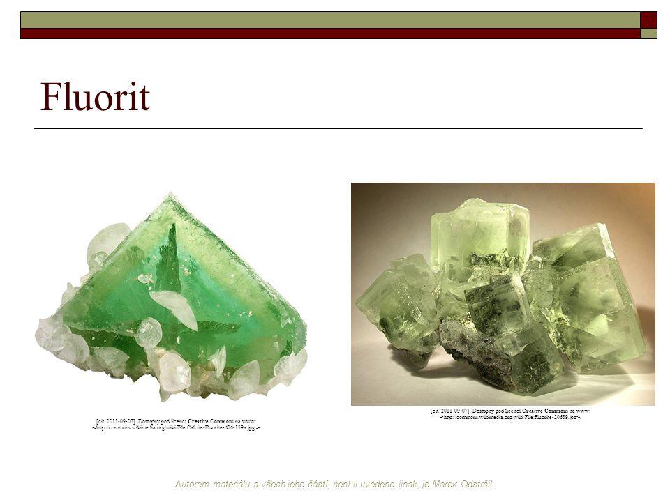 Fluorit [cit. 2011-09-07]. Dostupný pod licencí Creative Commons na www: <http://commons.wikimedia.org/wiki/File:Fluorite-20639.jpg>.